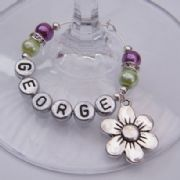 Daisy Flower Personalised Wine Glass Charm - Elegance Style